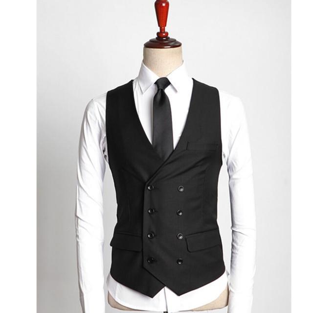 40455236d9 Hombre guapo chaleco de doble botonadura estilo simple ocasiones formales  chaleco negro personalizado del novio mejor