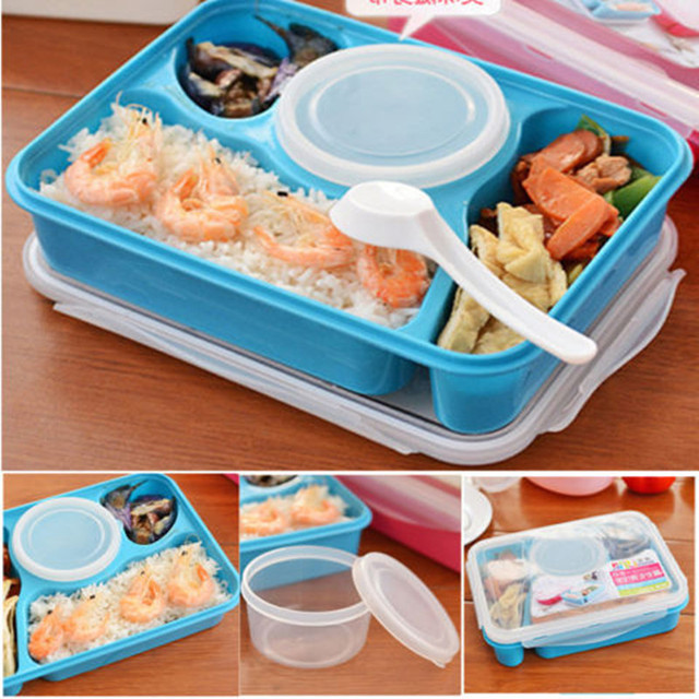4 In 1 Newest Portable Bento Box Utensils Food Storage Lunch Box Container Oven Boxes Plastic