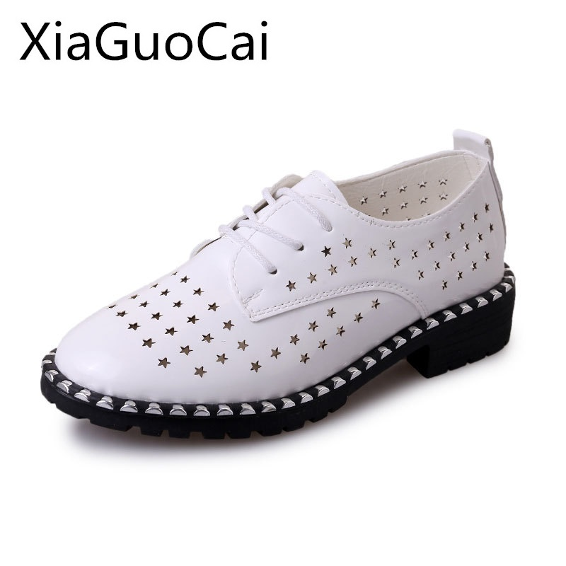 Fashion Women Brogue Shoes Spring and Summer Woman's Casual Shoes Female Hollow Flat with Lace-up Fashion Flats for Ladies instantarts casual women s flats shoes emoji face puzzle pattern ladies lace up sneakers female lightweight mess fashion flats