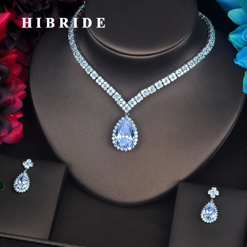 HIBRIDE Luxury Water Drop AAA Cubic Zirconia Jewelry Shinny Bride Necklace Set Wedding Jewelry Dress Accessories