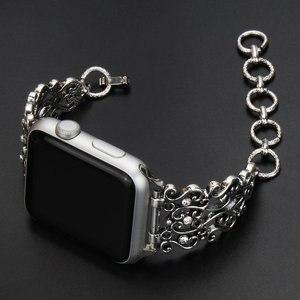 Image 3 - 여성 팔찌 밴드 시계 밴드 38mm/42mm 스테인레스 스틸 금속 다이아몬드 스트랩 iwatch 시리즈 5 4 3 2 1