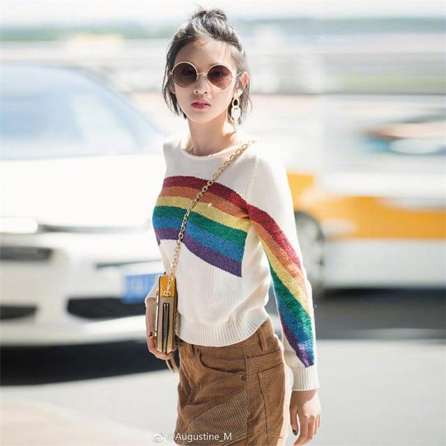 0b933ba58a77 2018 Winter Runway Design Rainbow Striped Knitted Sweaters Women ...