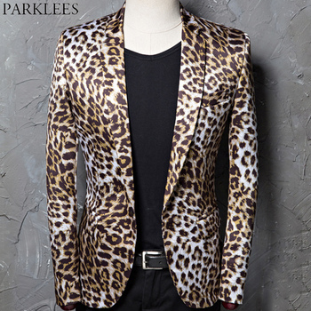 Fashion Leopard Print Blazer Jacket Men One Button Slim Fit Nightclub Bar Suit Blazer Male Stage Singer Rock and Roll Costumes