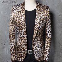 Fashion Leopard Print Blazer Jacket Men One Button Slim Fit Nightclub Bar Suit Blazer Male Stage Singer Rock and Roll Costumes