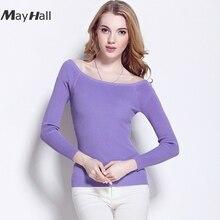 MayHall Slash Neck Ribbed Pullover Sweater Long Sleeve Skinny Casual Jumper Autumn Winter Elasticity Basic sueter mujer MH296