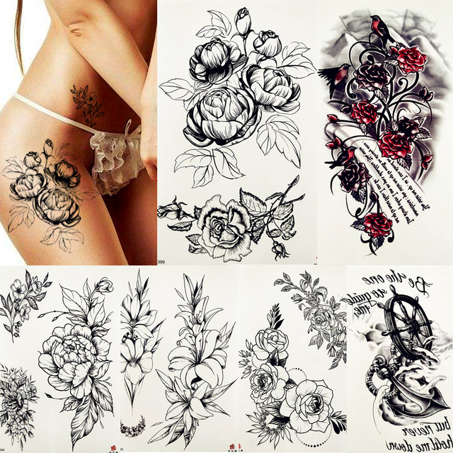 ece73a282 Black Drawing Rose Peony Lily Blossom Leaves Temporary Tattoo Sticker Sexy  Girl Fake Tatoo Body Art Arm Leg Waterproof Tattoos