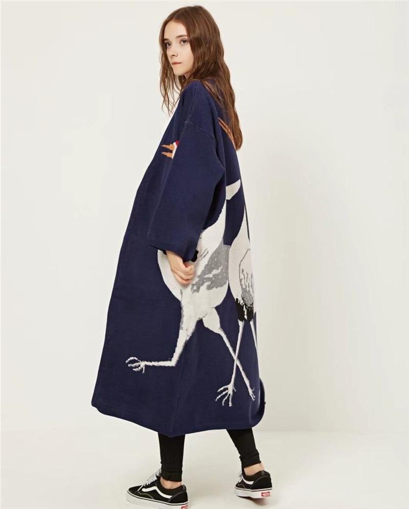Streetwear Femmes Dessinée Bande Harajuku Oversize Casual Grues Motif Tranchée 01 Cachemire Japonais Tricot Point Outwear Ouvrir Manteau wnqFO0XqR