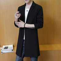 Spring and autumn thin Slim trench coat men long jacket male solid blazers collar two buckle black mens overcoat size M 3XL