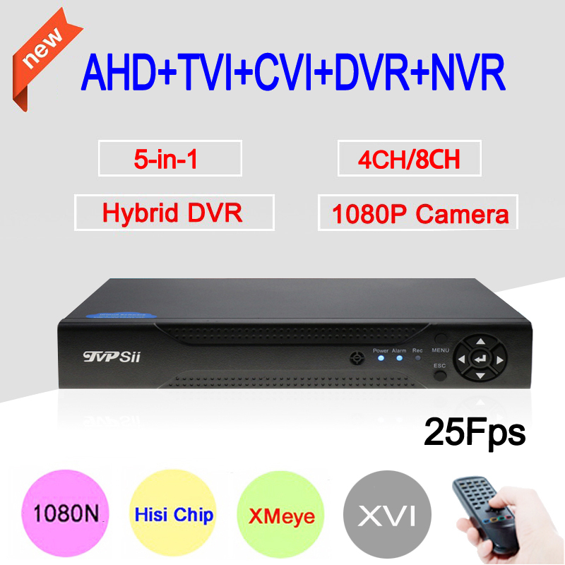 XMeye HiSilicon Chip 1080P 2MP Surveillance Camera 25fps 4CH 8CH 1080N Hybrid Coaxial 5 in 1 TVI CVI NVR AHD DVR Free Shipping