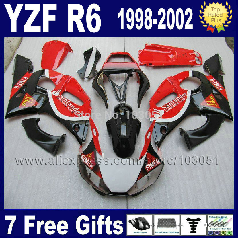 Custom Moto fairing for YAMAHA YZFR6 1998 1999 YZF600 02 00 99 98 red black YZF R6  2000 2001 2002 fairings aftermarket parts mfs motor front rear brake discs rotor for yamaha yzfr1 1998 1999 2000 2001 yzfr6 1998 1999 2000 2001 2002 yzf r6 98 02 gold