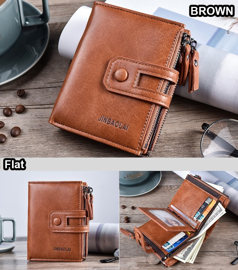 HTB1Q2GJKkKWBuNjy1zjq6AOypXad - JINBAOLA Men Wallet Brand Wallet Double Zipper&Hasp Design Small Wallet Male High Quality Short Card Holder Coin Purse Carteira