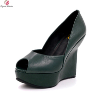 Original Intention New Fashion Women Pumps Sheepskin Peep Toe Strange Style Heels Pumps Black Green Shoes