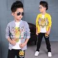 Bebê Meninos Roupas Set 3 Pcs Coruja Dos Desenhos Animados Impresso Jaquetas Com Zíper Casaco Causal jaqueta + Calça Preta Blusa Branca agasalho crianças