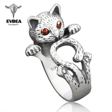 EVBEA Chinese Style Jewelry Retro Red Eyes Lucky Cat Thai Ring Fashion Female Adjustbale Open Rings