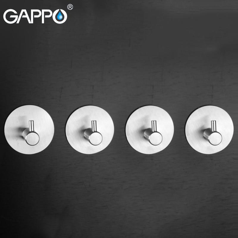 GAPPO Robe Hooks Living Room Holder Stainless Steel Wall Mounted Multi-functional Holders Rack Accessories Bathroom Hooks
