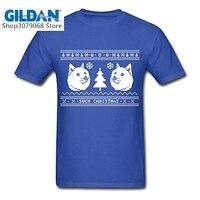 GILDAN Fashion Create T Shirt Online Men S Short Tees Ugly Christmas Sweater Pattern Shiba Inu