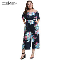 CosMera Vintage Off The Shoulder Flounce Floral Print Pocket Plus Size Women Jumpsuit Casual Short Sleeve Summer Ladies Rompers