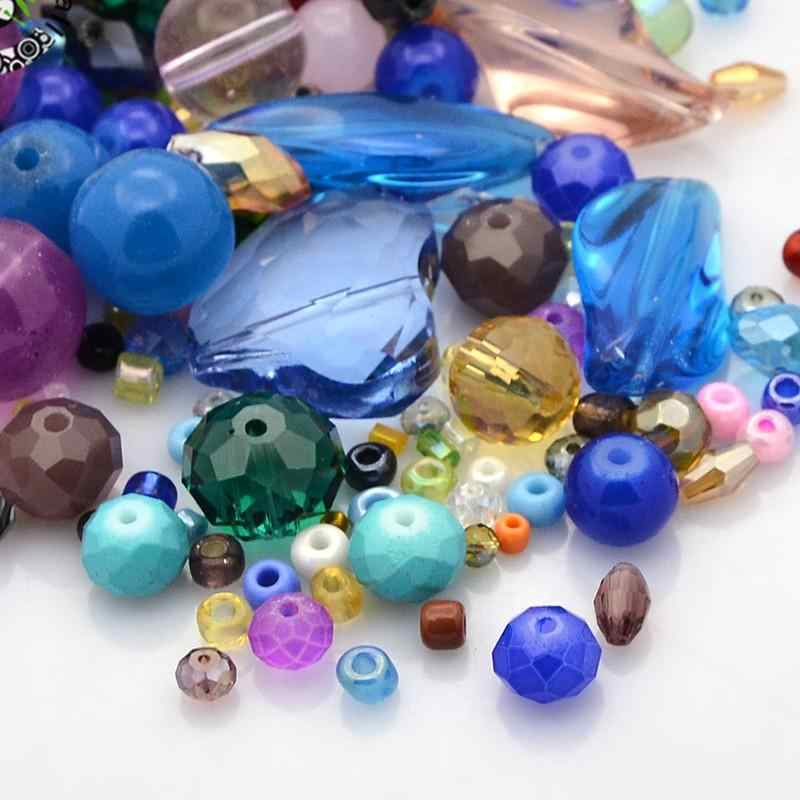 200g/lot  Mixed Glass Loose Beads Mixed Color For DIY Jewelry Accessories Finding Making Necklaces Bracelets,4~22.5x4~28.5x3~9mm