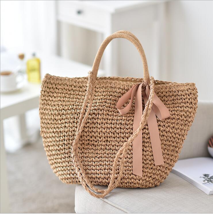 2018 Sommar Kvinnor Hållbar Väv Straw Beach Väskor Feminin Linen - Handväskor - Foto 2