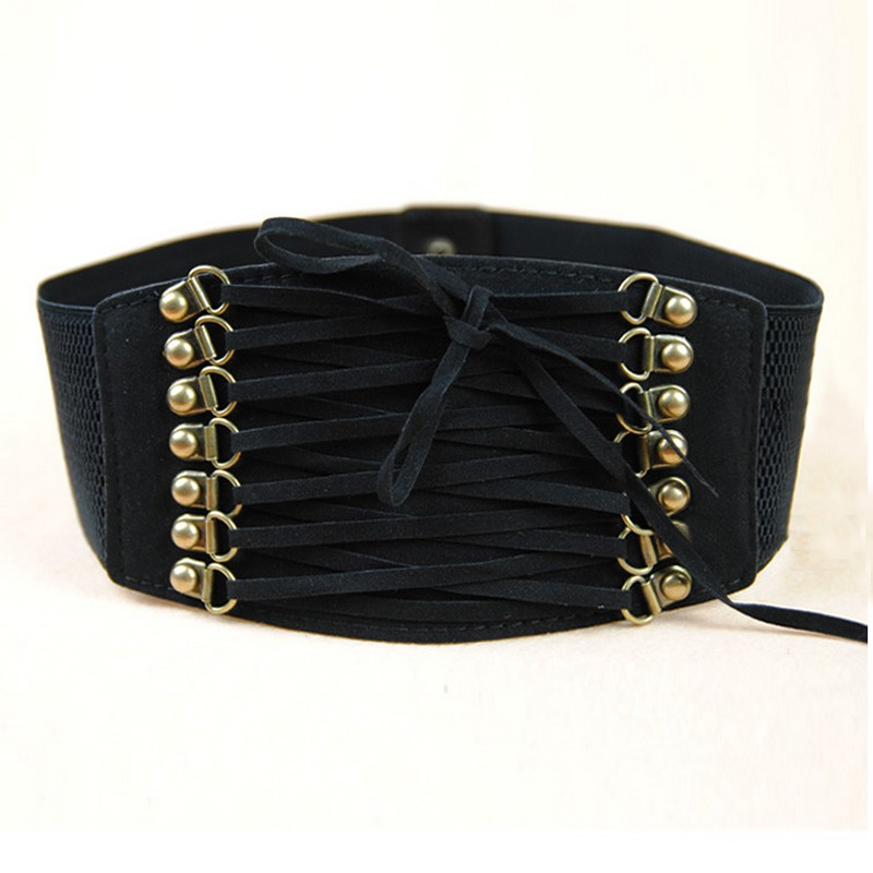 2018 Women Retro Velvet Wide Lace-Up Belt Corset High Waist Band Fashion Belts Tight Body Slim Elastic Casual