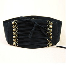 2018 Women Retro Velvet Wide Lace Up Belt Corset High Waist Band Fashion Belts Tight Body