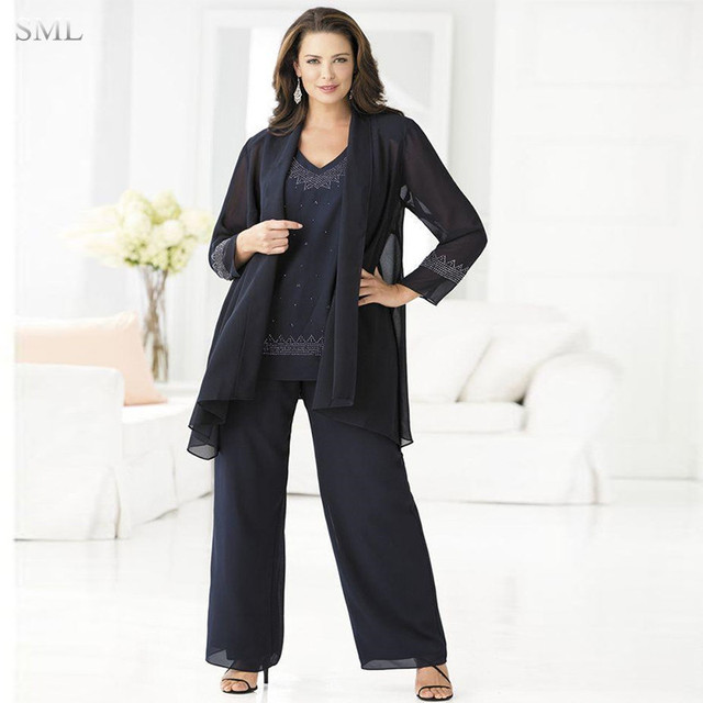 SML Cheap Navy Mother Of The Bride Pant Suits Elegant 3 Piece Plus ...