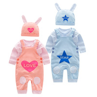 Spring And Autumn New Baby Rompers 3pcs Children Sets Girls Rompers Cotton Long Sleeved Hat Newborn