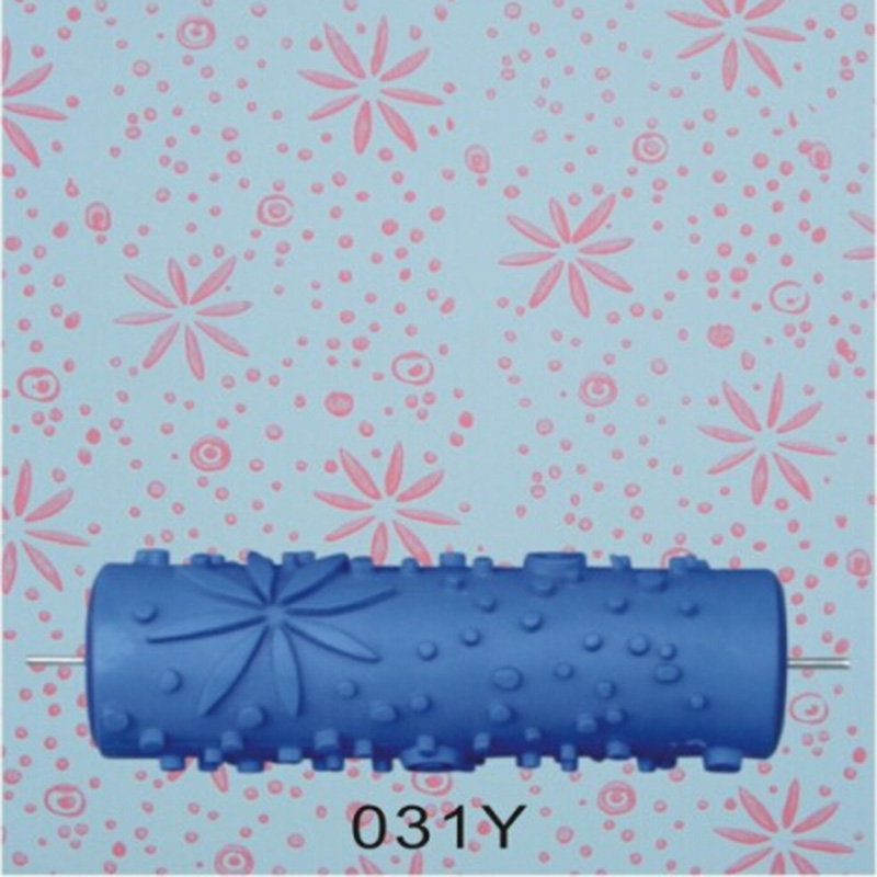 5inch 3d rubber roller wall painting roller pattern design print roller without handle gripblue roller031y free shipping