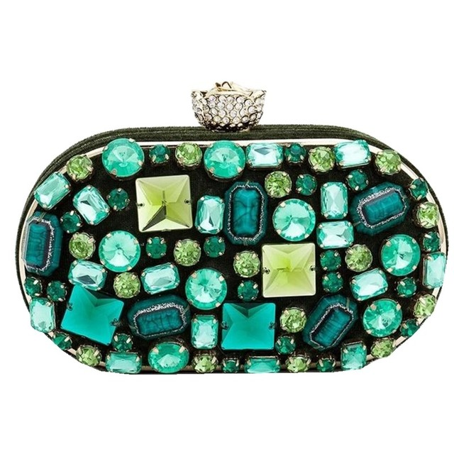 New Rhinestone Clasp Alloy Frame Diamond Box Clutch Crystal Evening Bag Wedding Party Banquet Purses with Chain Handmade Beaded