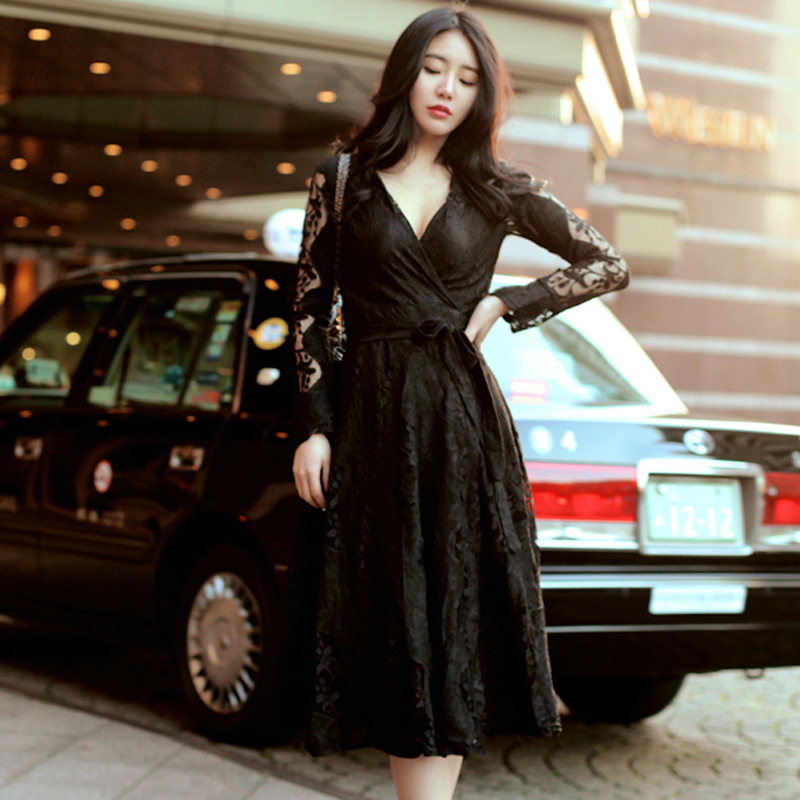 Femmes Sexy Noir robe Plus taille Pour Jolies Filles Grande taille Sexy V neck Lace manches robes avec des ceintures L XL XXL XXL 4XL 5XL