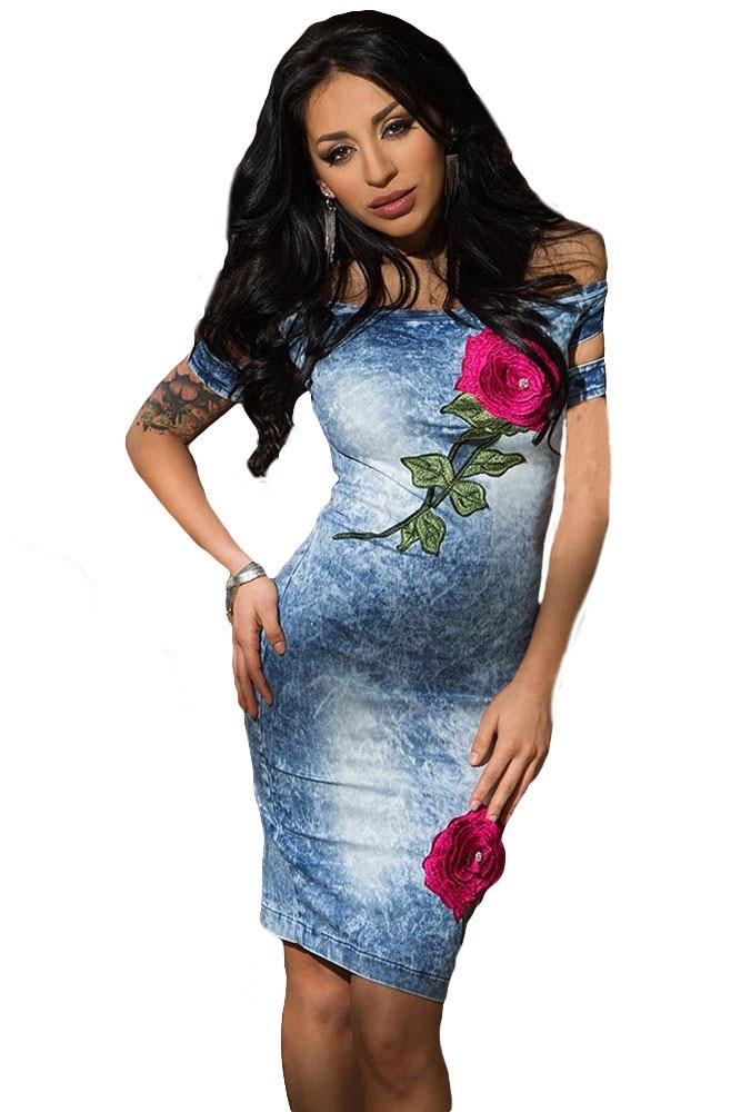 Denim Dress 2016 Fashion Party Rose Embroidered Off Shoulder Midi Dress Women Vestido Jeans Feminino Festa LC61224 slash neck