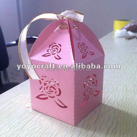 Rose Wedding Favour Box Pink Birthday Gift Small Cake Boxes With Free Ribbon Romantic Love Theme Favor