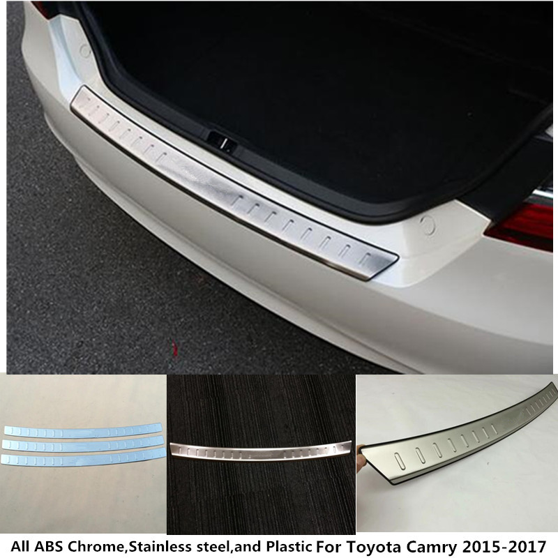 For Toyota Camry 2015 2016 2017 car body styling Stainless steel Back Rear Pedal Door Scuff Plate Frame outside Threshold Trunk car styling camry