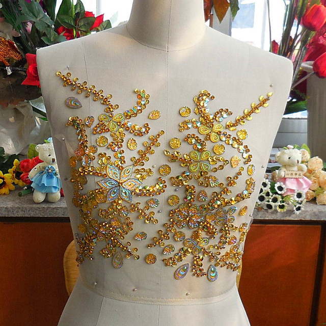 Dw.M Yellow Beaded Rhinestone Applique Patches Crystal Appliques for Wedding  Trims 27x31cm Sewing Costumes Dresses Decoration f1f07782363d