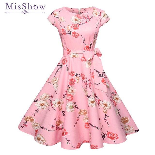 f97c77833c81 MisShow Short Pink Floral Print Vintage Dress Knee Length Bodycon Women  Party Dress Pretty O Neck Sashes Waist Bow Summer Dress