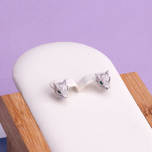 Hip Hop High Quality Zircon Green Eye leopard Stud Earrings New Design Rose Gold Color panther Ear Jewelry For Women Men Gift цена 2017
