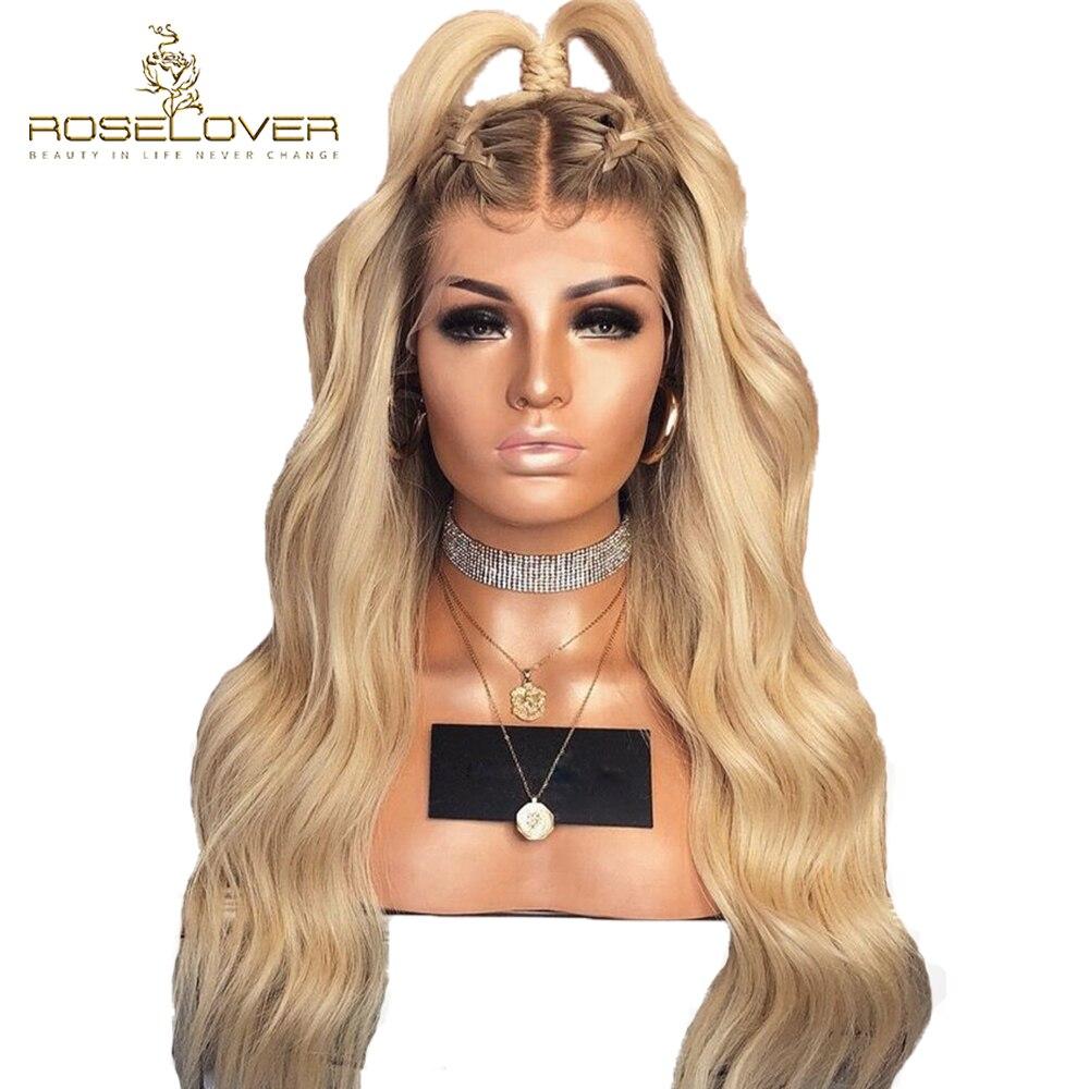 4/613 faliste koronki przodu włosów ludzkich peruk 150% Ombre blondynka koronki przodu peruki z dziecięcymi włosami Pre oskubane brazylijski Remy włosy Roselover w Peruki z ludzkich włosów na siatce od Przedłużanie włosów i peruki na AliExpress - 11.11_Double 11Singles' Day 1