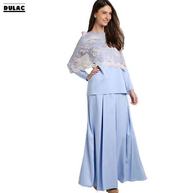 Advanced Customization Wholesale Middle East Pastel Blue Long Sleeves  Pleated Design Muslim Clothing Baju Kurung with Lace Dress 0562a8afd597