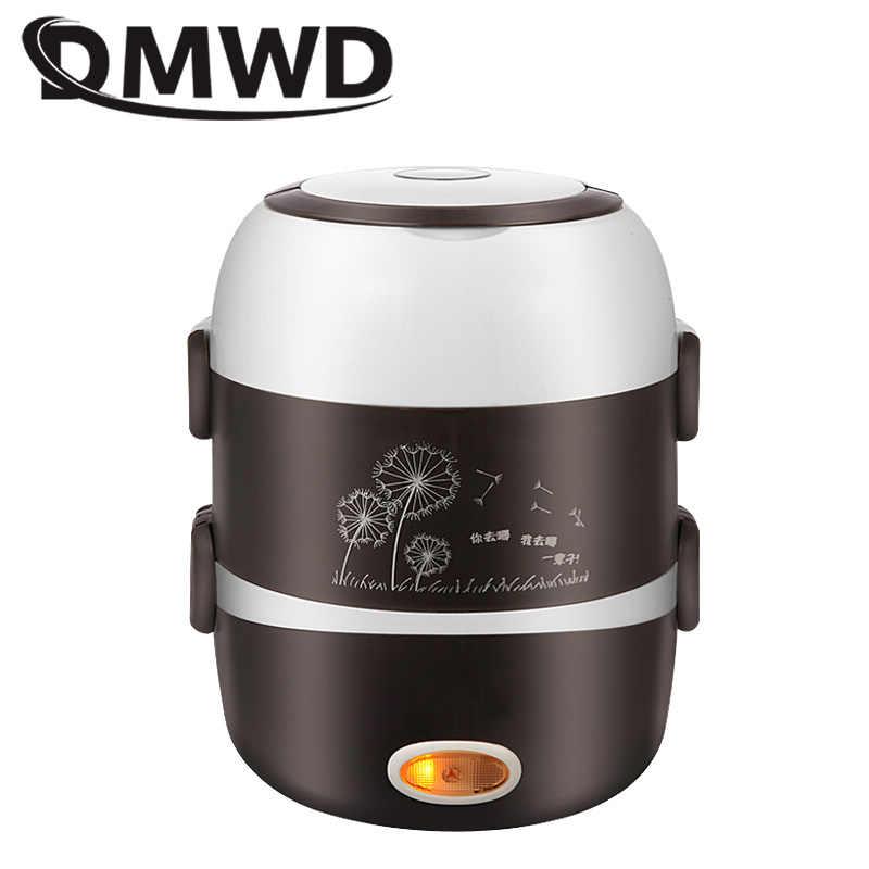 DMWD elektryczny Mini kuchenka do ryżu 2/3 warstwy wkładka ze stali nierdzewnej przenośny jajowar parowiec podgrzewacz do potraw pudełko na lunch multicooker 2L