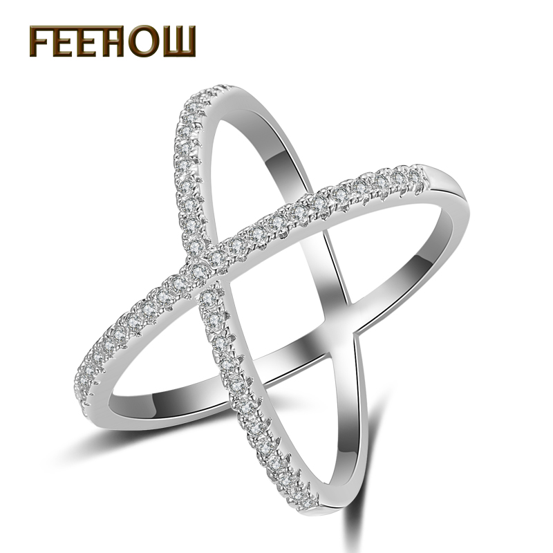 Feehow Fashion Cross Rings For Women Letter X Shape Ring Zirconia Micro Paved Gold Color Anel Jewelry Fwrp178