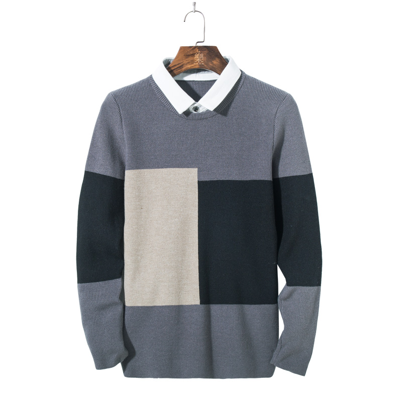 Mens Sweaters Pullover Fake two-piece Men Brand Clothing Casual O-Neck Sweater Men Mixed colors Long Sleeve Male M-3XL 3307#