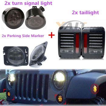 Pair LED Side Marker Light + Led Turn Lamp + Taillight For 07-16 Jeep Wrangler JK