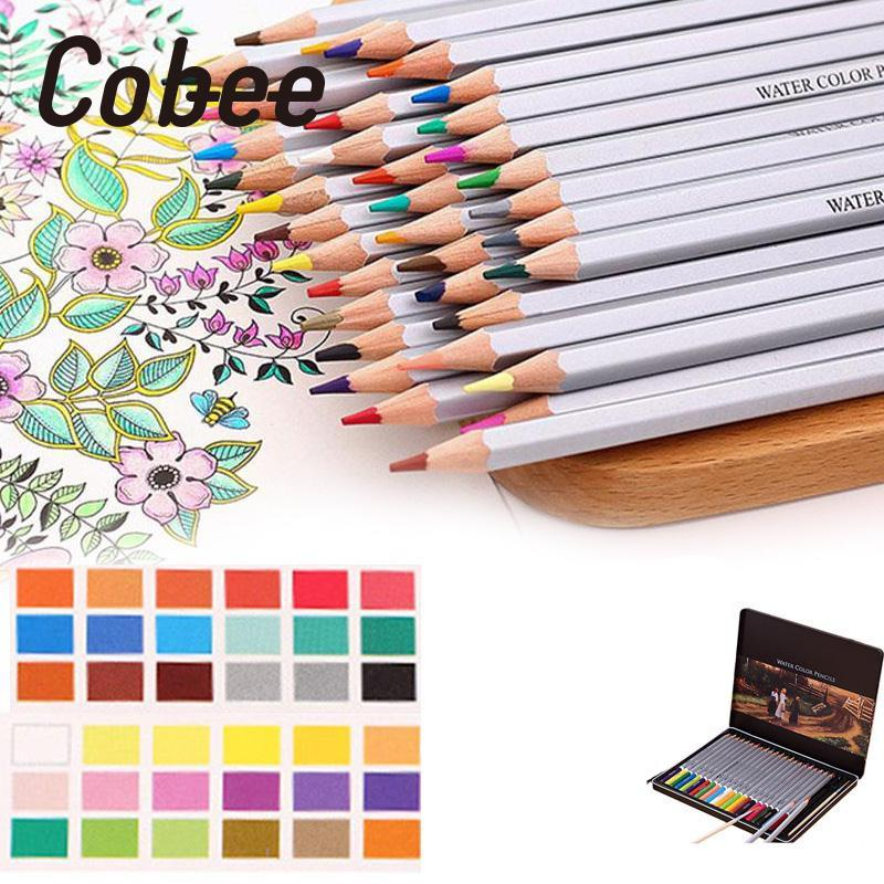 Cobee High Quality 24/36/48 Colors Water-Soluble Watercolor Pencils Artist Drawing Painting Colored Pens Home School Supplies touchnew 60 colors artist dual head sketch markers for manga marker school drawing marker pen design supplies 5type