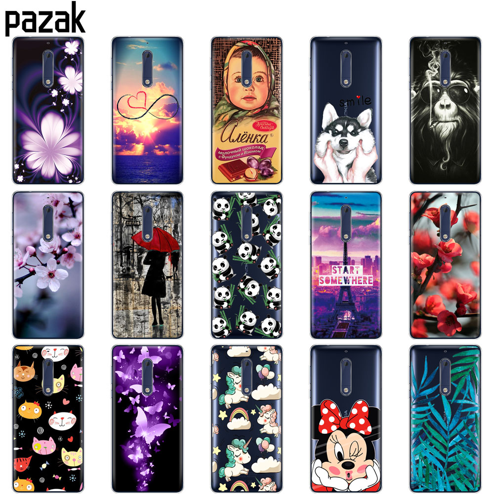 Silicon Case For Nokia 1 2 2.1 3 3.1 5 5.1 Plus 2018 Case Soft Tpu Back Phone Cover Shockproof Printing Coque Bumper Housing