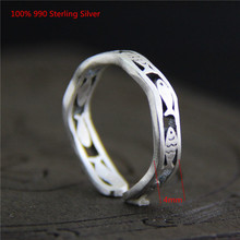 100% 990 Sterling Silver Unique Rings Simple Small Fish Open Ring for Women Men Jewelry