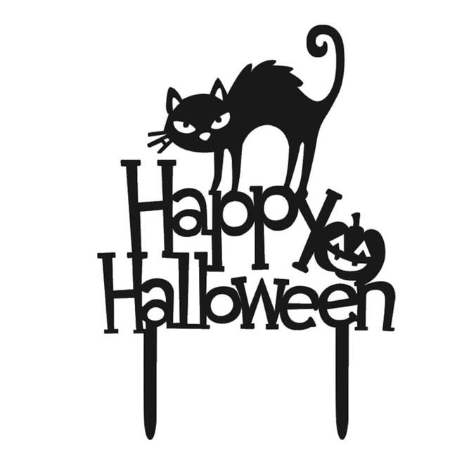 Acrylic Halloween Cake Topper Decorative Cat Happy Halloween Cake
