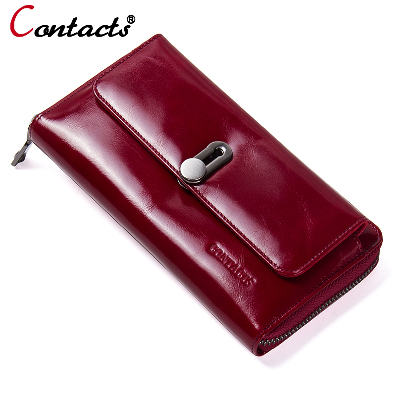 CONTACT'S Women Wallets Genuine Leather Wallet female purse Credit card holder Long Clutch Walet Fashion Female coin Purse Phone brand genuine leather wallet female purse long coin purse money bag casual card holder women wallets fashion purse wallet women