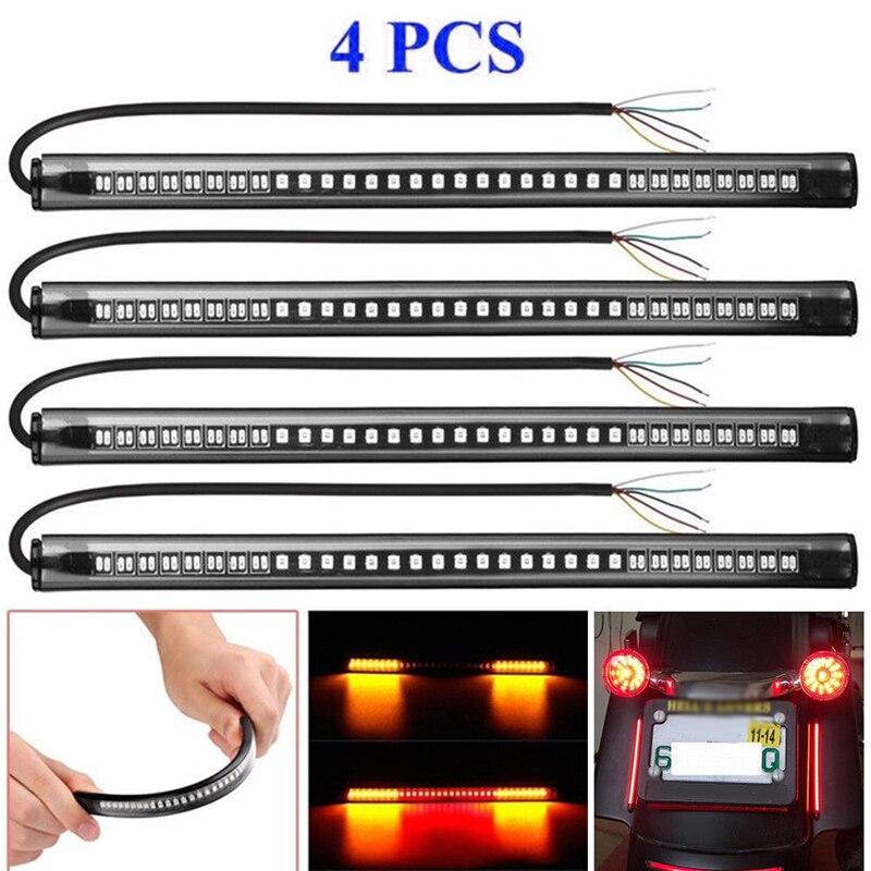 4 X 8 Motorcycle 48 LED Brake Stop Turn Signal Tail Light Strip Bar