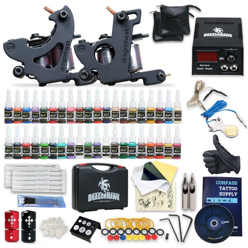 Complete Beginner Tattoo Kit Machine Guns Inks Needles Tattoo Power Supply SMT40-3 beginner tattoo kit 1 machine gun 4 inks needles tattoo power supply d1025gd 2