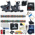 Complete Beginner Tattoo Kit Machine Guns Inks Needles Tattoo Power Supply SMT40-3